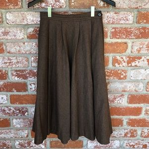 Vintage Brown Full High-Waisted Midi Circle Skirt